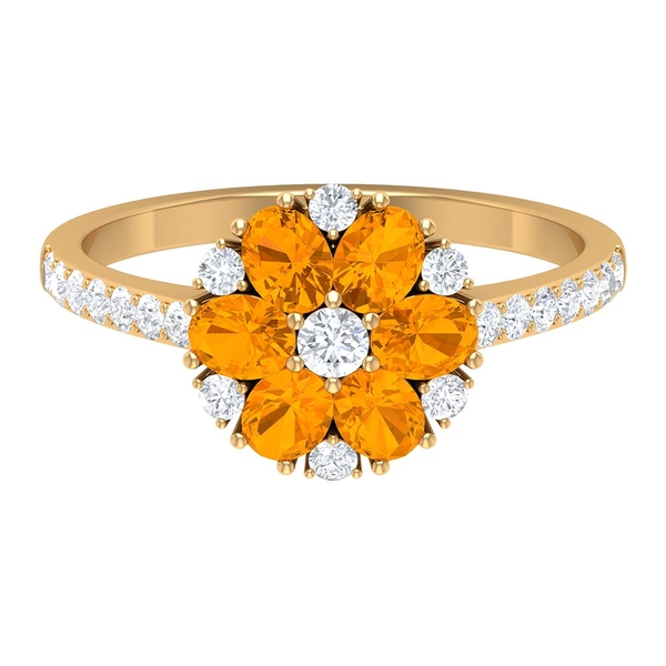 1.75 CT Created Orange Sapphire and Diamond Cluster Engagement Ring