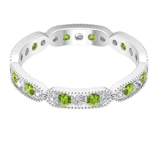 1 CT Created Peridot and Diamond Eternity Band Ring with Engraved Details