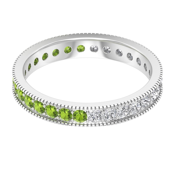 1.25 CT Channel Set Eternity Band Ring with Created Peridot and Diamond