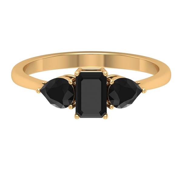 1.50 CT Three Stone Ring with Octagon and Pear Cut Created Black Diamond
