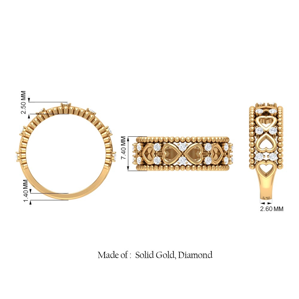1/4 CT Beaded Gold Open Heart Band with Round Shape Diamond