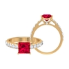 2.50 CT Solitaire Ruby Engagement Ring with Moissanite Side Stones