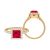 2.25 CT Ruby Solitaire Ring with Moissanite Halo