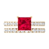 2.75 CT Ruby and Moissanite Wedding Ring Set