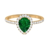 1.50 CT Pear Cut Emerald Engagement Ring with Moissanite
