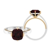 8.5 MM Cushion Cut Garnet Solitaire Two Tone Gold Ring (AAA Quality)