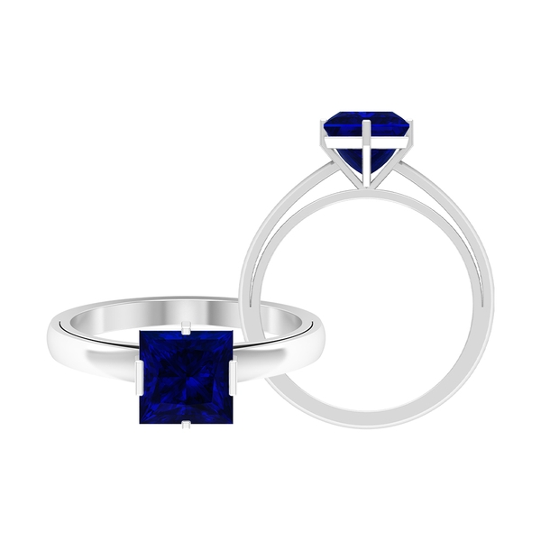2 CT Two Tone Engagement Ring with Blue Sapphire Solitaire