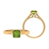 3 CT Asscher Cut Created Peridot Solitaire Ring with Hidden Moissanite (AAAA Quality)