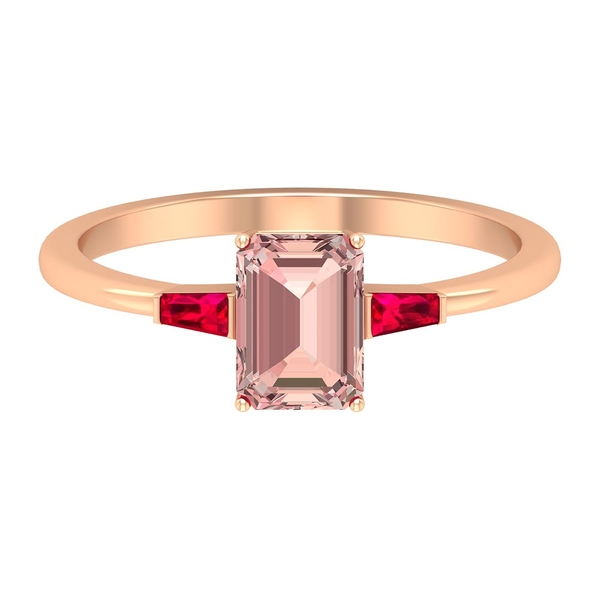 2 CT Three Stone Engagement ring with Created Morganite and Ruby