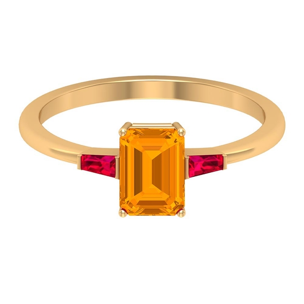 2 CT Three Stone Engagement ring with Created Orange Sapphire and Ruby