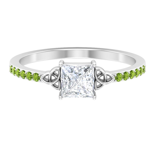 3/4 CT Solitaire Diamond and Created Peridot Celtic Knot Ring
