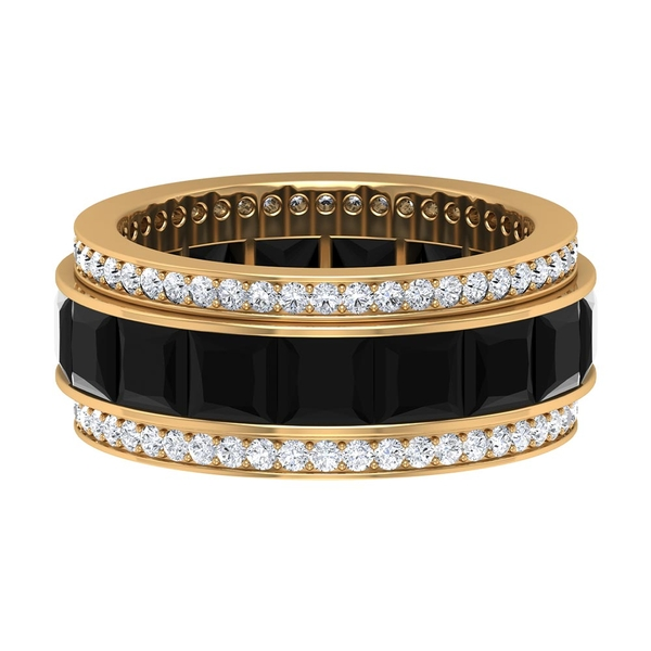 5.75 CT Wedding Eternity Band with Created Black Diamond and Moissanites