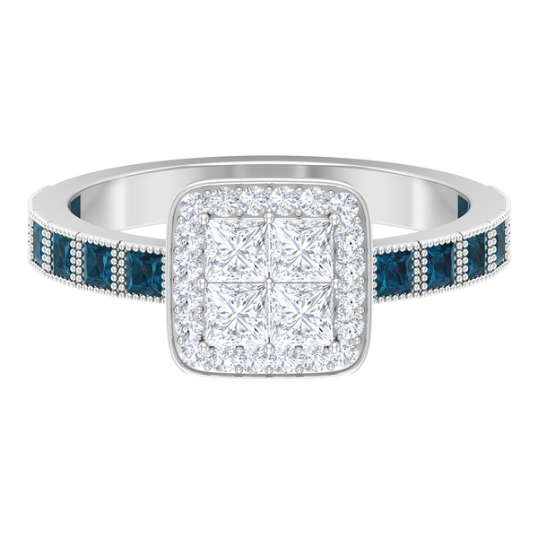 1.25 CT Diamond Cluster Ring with London Blue Topaz Side Stones
