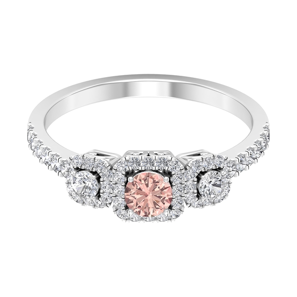 3/4 CT Created Morganite and Diamond Three Stone Engagement Ring with Accent (AAAA Quality)