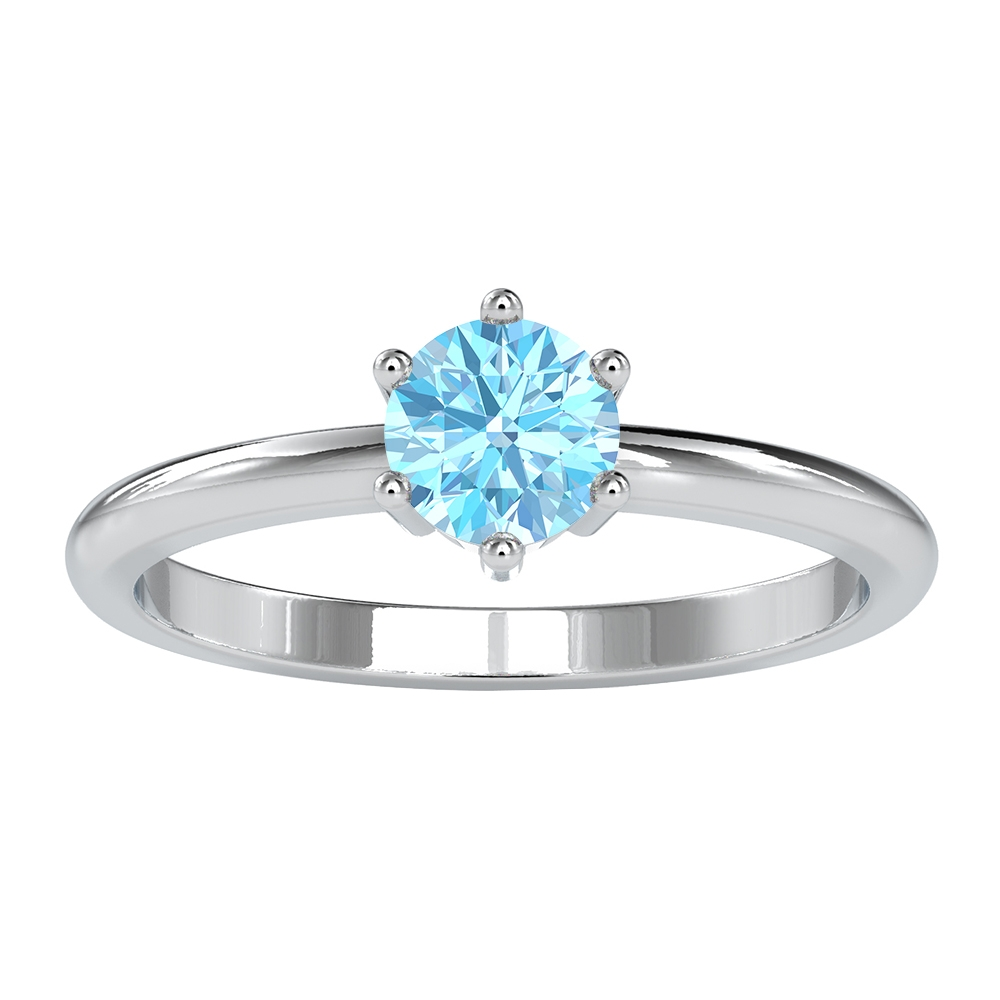 3/4 CT Six Prong Set Aquamarine Solitaire Ring for Women