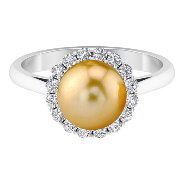 5 CT South Sea Pearl and Moissanite Halo Vintage Ring
