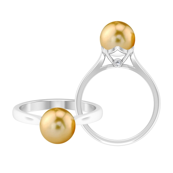 2.50 CT Round Cut South Sea Pearl and Moissanite Simple Ring