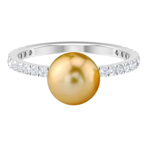 5 CT South Sea Pearl Solitaire and Moissanite Side Stone Wedding Ring