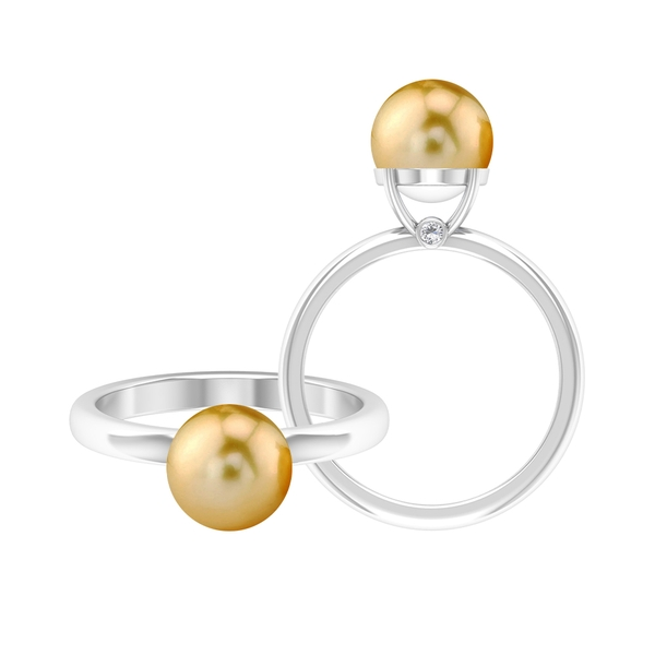 4.50 CT Solitaire South Sea Pearl and Moissanite Engagement Ring