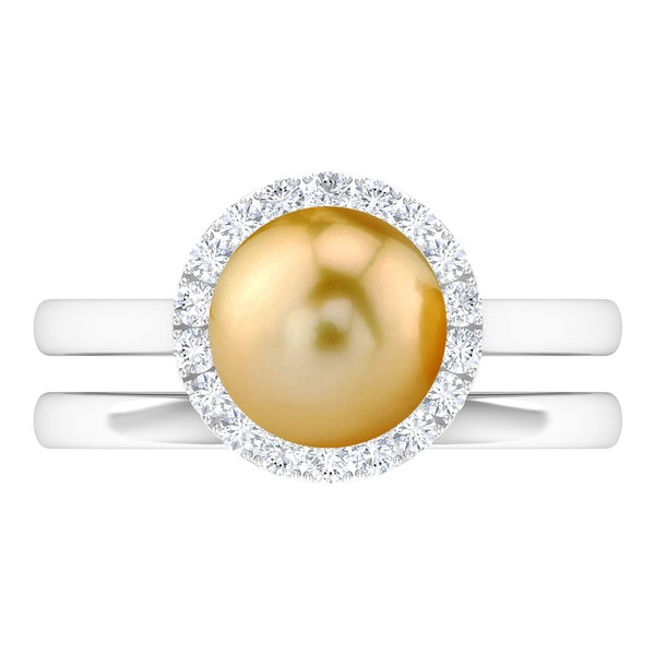 4.75 CT South Sea Pearl and Moissanite Engagement Ring with Gold Wedding Band