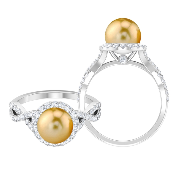 5.25 CT South Sea Pearl and Moissanite Spiral Shank Ring