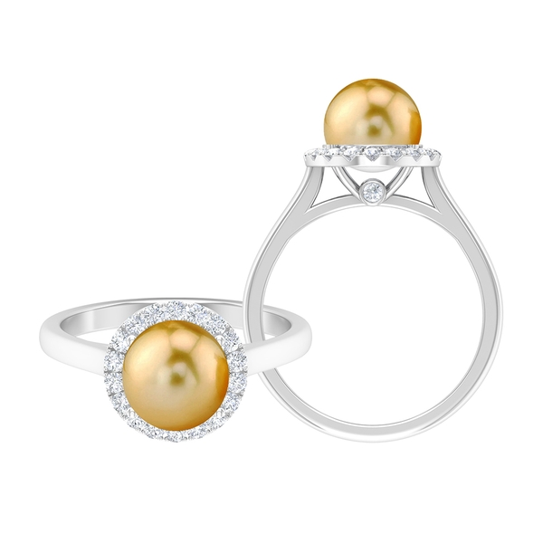 4.75 CT South Sea Pearl and Moissanite Halo Engagement Ring