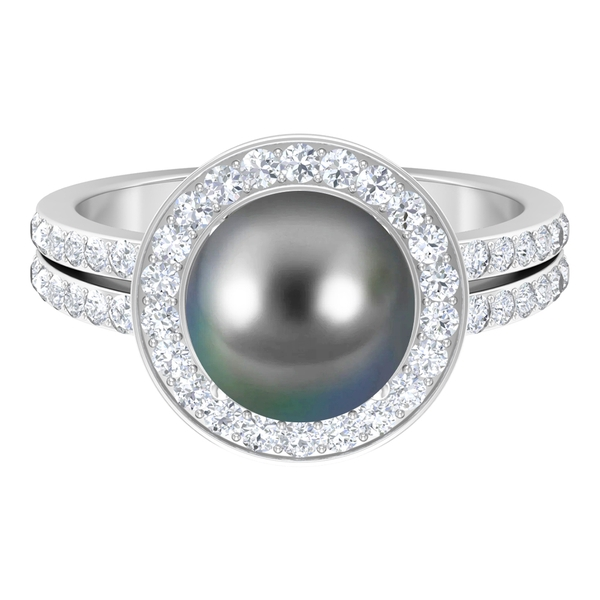 June Birthstone - 5.25 CT Tahitian pearl Solitaire and Moissanite Engagement Ring (AAA Quality)