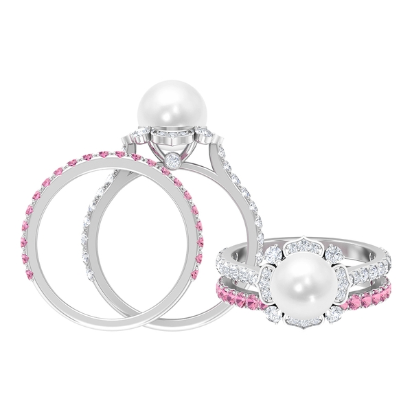 5.25 Freshwater Pearl and Moissanite Floral Engagement Ring with Pink Tourmaline Wedding Band