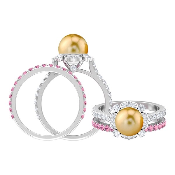 5.75 CT South Sea Pearl and Diamond Floral Engagement Ring with Pink Tourmaline Wedding Band